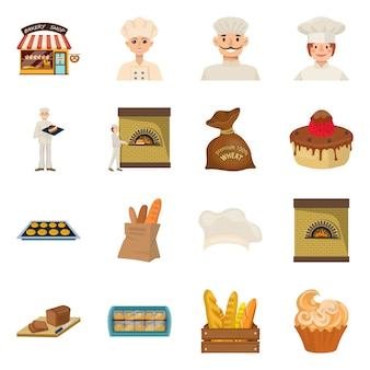 Изолированный объект пекарни и естественный знак. коллекция хлебобулочных и посуды, набор