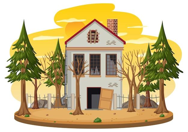 시골에서 고립 된 오래 된 깨진된 집