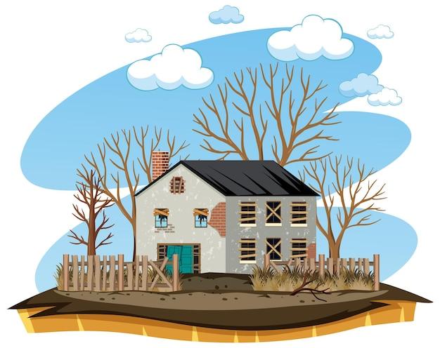 田舎の孤立した古い壊れた家