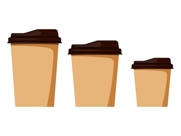 Изолированные на белом фоне одноразовые бумажные чашки кофе с размером крышки набор маленький, средний, большой, макет шаблона.