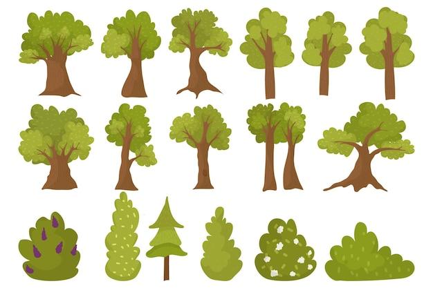 흰색에 고립 된 나무 세트 벡터 일러스트 레이 션 녹색 숲 요소 컬렉션 환경 자연 pl...
