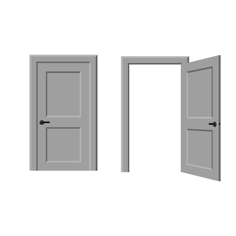 Isolated open and closed door