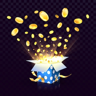 Isolated open textured gift box with coins explosion out on the transparent background