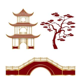 Изолированные восточные элементы пейзажа храмовое дерево и мост