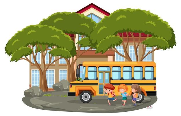 많은 아이들과 학교 버스가 있는 고립된 야외 학교 장면