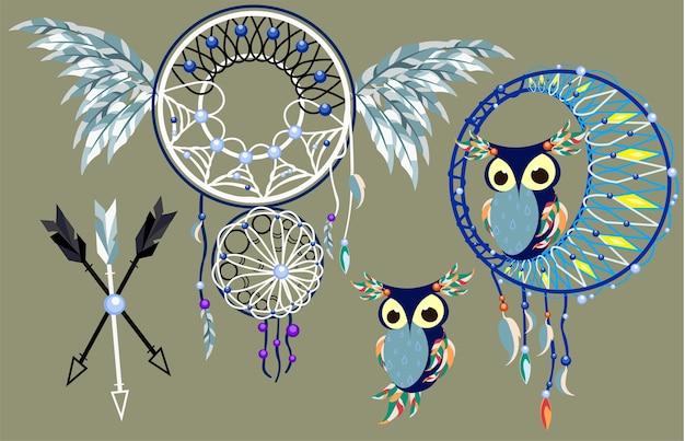 孤独なフクロウの装飾ボヘミアンdreamcatcher