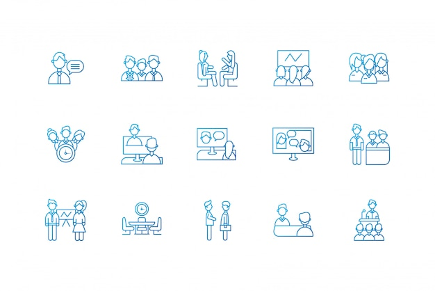 Isolated people meeting icon set design