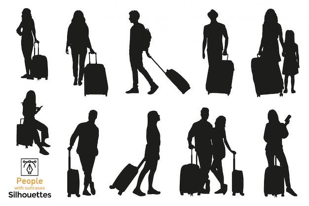 Isolated people traveling with suitcases. different poses of men and women in airport and duty free.