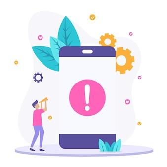 Изолированное понятие иллюстрации ошибки телефона.