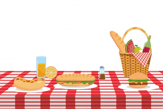 Isolated picnic basket  vector illustrator