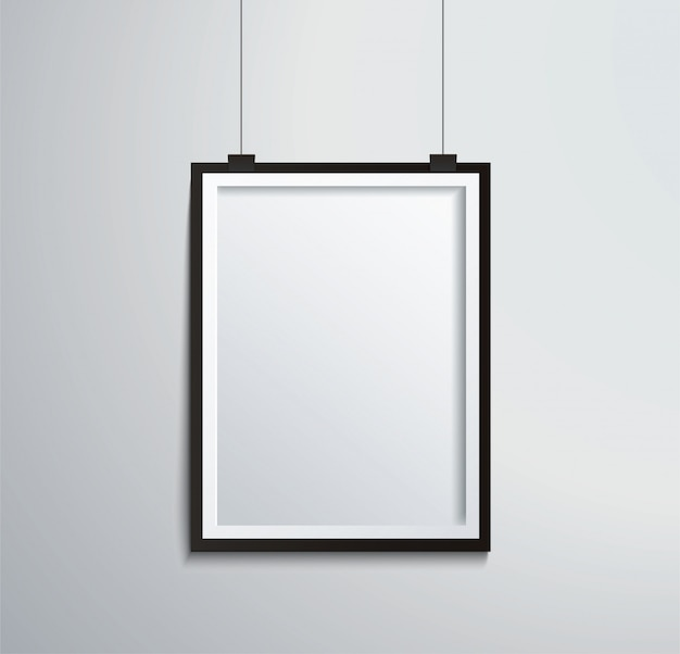 Isolated picture frame on wall