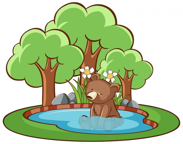 Isolated picture of little bear in the pond