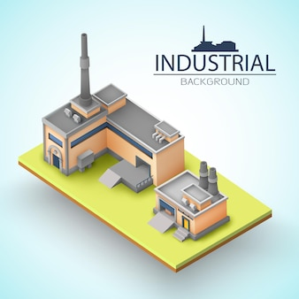 Isolated piece of earth with factory building concept for presentation or advertising