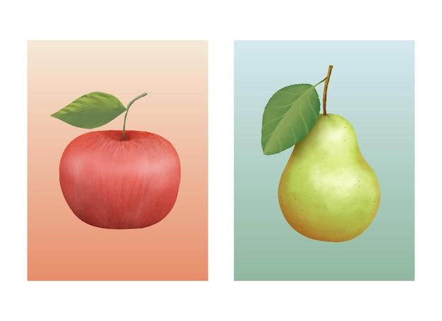 孤立したポスター手描きのリンゴと梨の果実