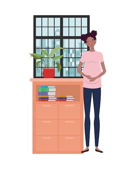 Isolated pregnant woman illustration