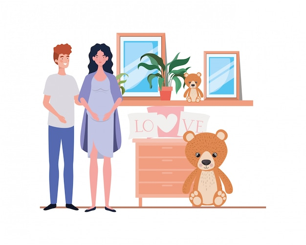 Isolated pregnant woman and man