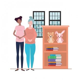 Isolated pregnant women illustration