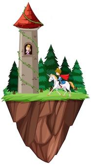 Изолированные принц и принцесса замок