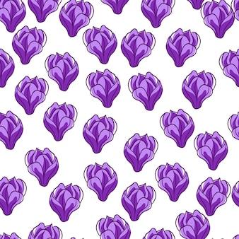 Изолированные фиолетовый случайных магнолии маленькие цветы бесшовные каракули. белый фон. абстрактный стиль. плоская векторная печать для текстиля, ткани, подарочной упаковки, обоев. бесконечная иллюстрация.