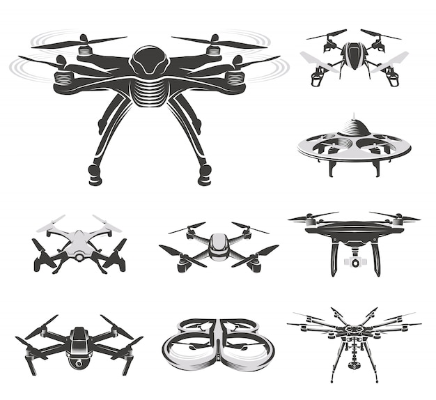 Isolated quadcopter, rc drone collection, fpv device  illustration