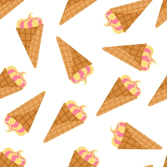 Isolated random seamless pattern with ice cream on white background
