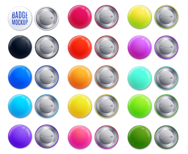 Isolated realistic badge colorful icon set with place for text and multicolored front side  illustration