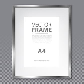 투명 한 배경에 금속 테두리와 격리 된 현실적인 프레임. a4 페이지와 텍스트가있는 간단한 사진 프레임. 회화 또는 광고, 쇼 또는 갤러리를위한 현대 3d 금속 상자. 안내 게시판