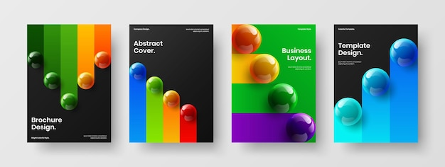 Isolated realistic spheres poster concept set
