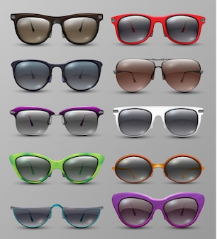 Isolated realistic sun glasses with color lens  set. eyeglasses accessory, protection eyes glasses