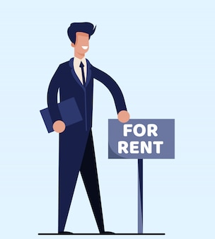 Isolated realtor standing near signboard for rent