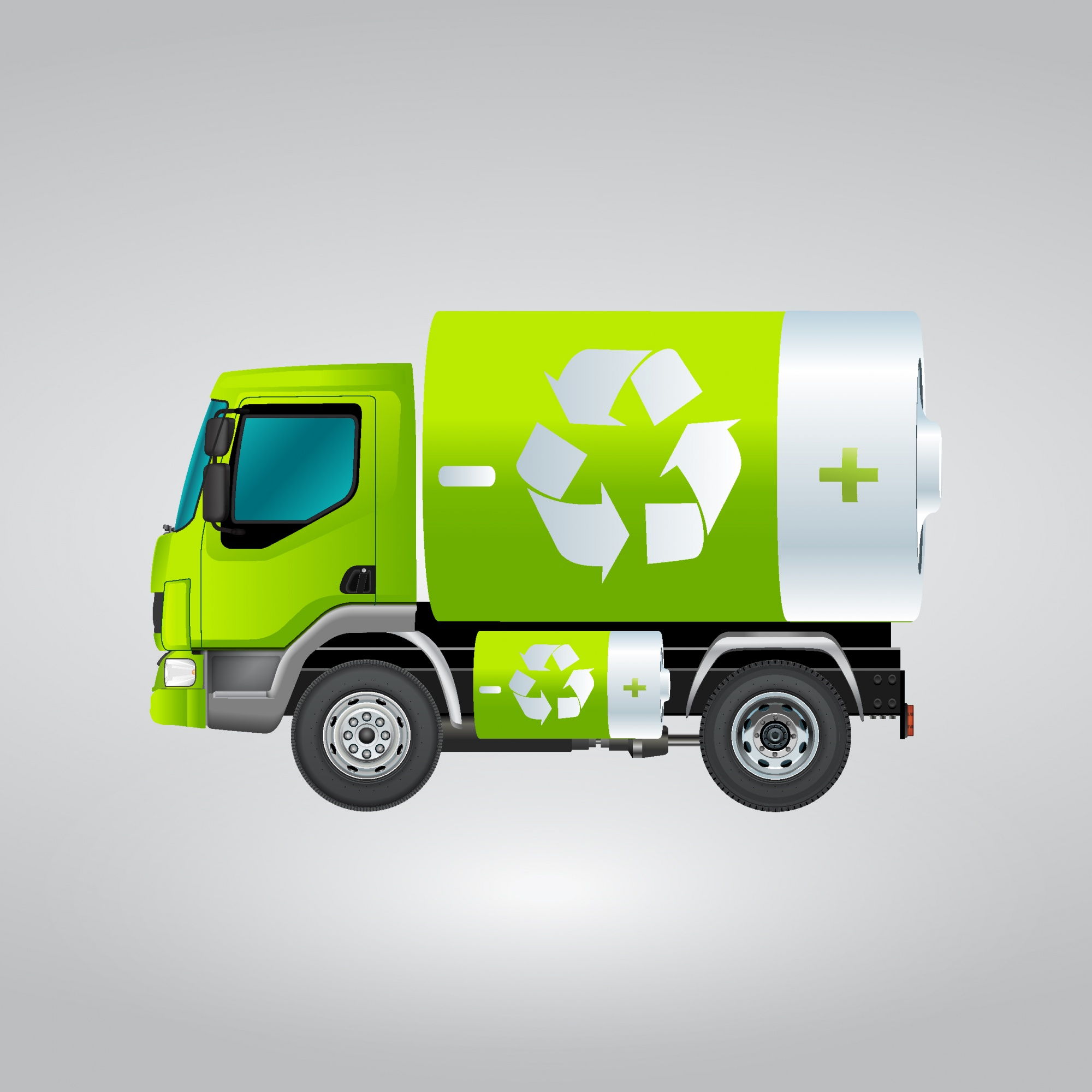 Isolated recycling truck