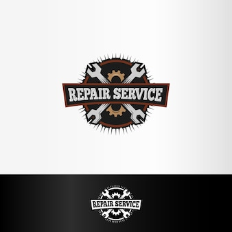 Isolated repair service logo, wrenches and gears elements, mechanical tools   illustration.
