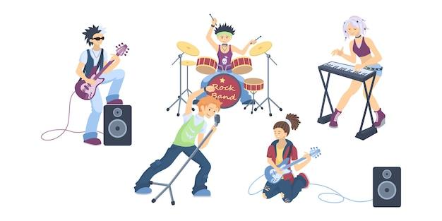 白い背景の上の孤立したロックバンド。ドラムとギター、ボーカルとピアノ。クールな歌手やミュージシャン。