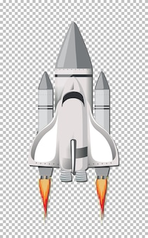 Isolated rocket on transparent