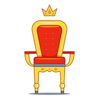 Isolated royal throne with red velvet and gold. flat illustration