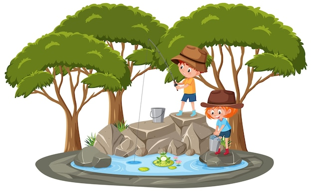 Isolated scene with children fishing at the pond