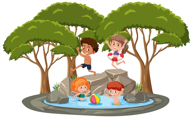 연못에서 노는 아이들과 고립된 장면