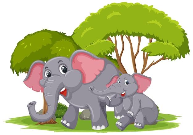 Изолированная сцена с мамой и молодыми слонами