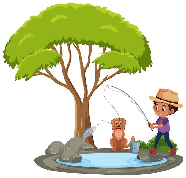 Изолированная сцена с молодым человеком, ловящим рыбу на пруду