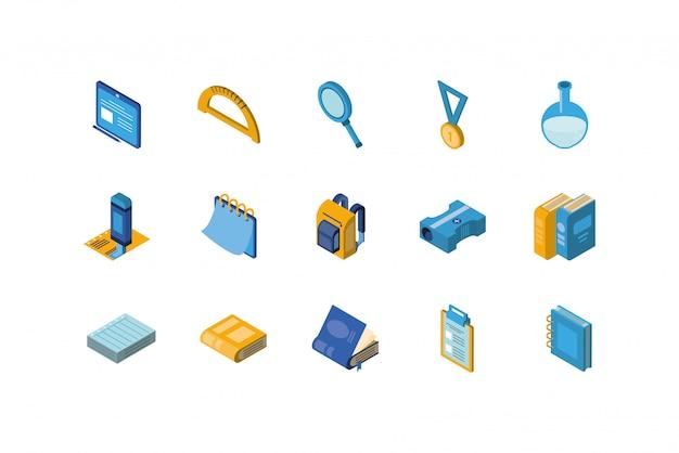 Изолированный школьный набор иконок