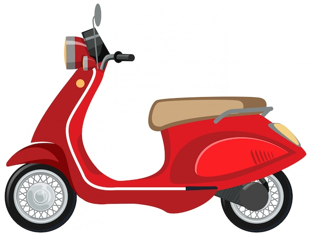 白い背景の上の孤立したスクーター漫画