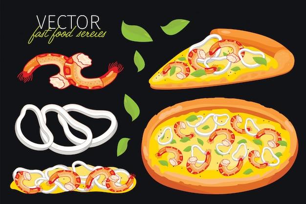 Isolated seafood pizza. fast food set.