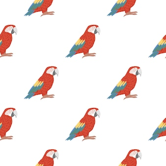 Isolated seamless bird pattern with bright red parrot
