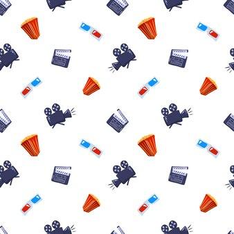 Изолированные бесшовные кино шаблон с фигурами попкорн, камеры, очки и с 'хлопушкой'.