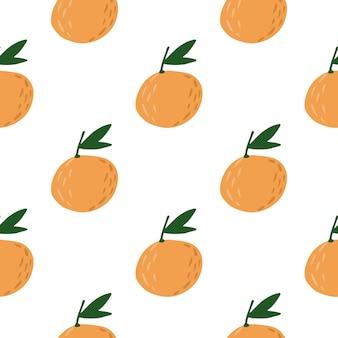 Изолированные бесшовные модели питания с орнаментом мандарины.