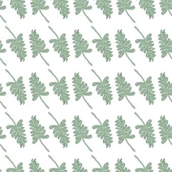 밝은 녹색 단풍 잎 격리 된 완벽 한 손으로 그려진 된 패턴.