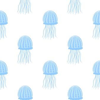 Изолированные бесшовные минималистичный узор с простыми силуэтами медузы. подводная рыба синего цвета