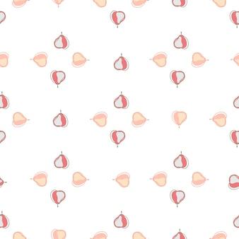 梨の要素と幾何学的なスタイルで分離されたシームレスパターン