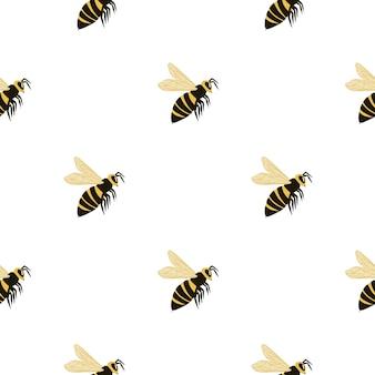 蜂の様式化されたシルエットと分離のシームレスなパターン。白い背景の上の黄色と黒の色のハチ。