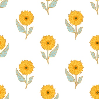 Isolated seamless pattern with bright yellow sunflowers ornament.